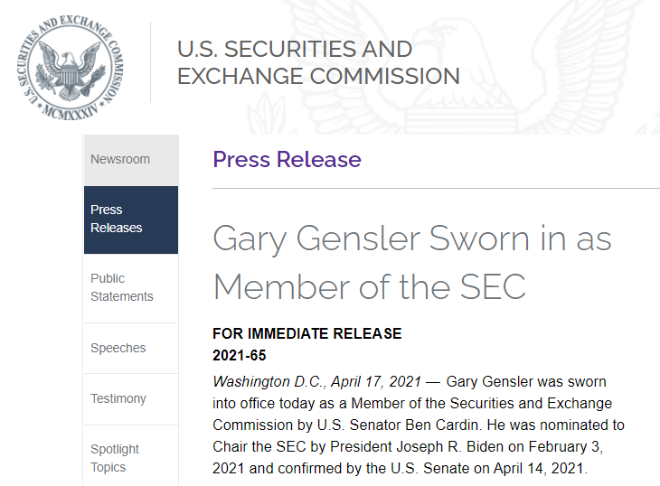 Гэри Генслер вступил в должность нового председателя SEC, откажется ли SEC от дела Ripple?